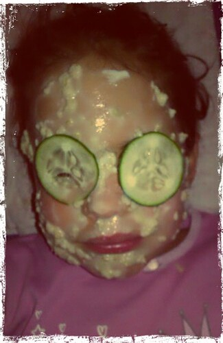 Her first face mask