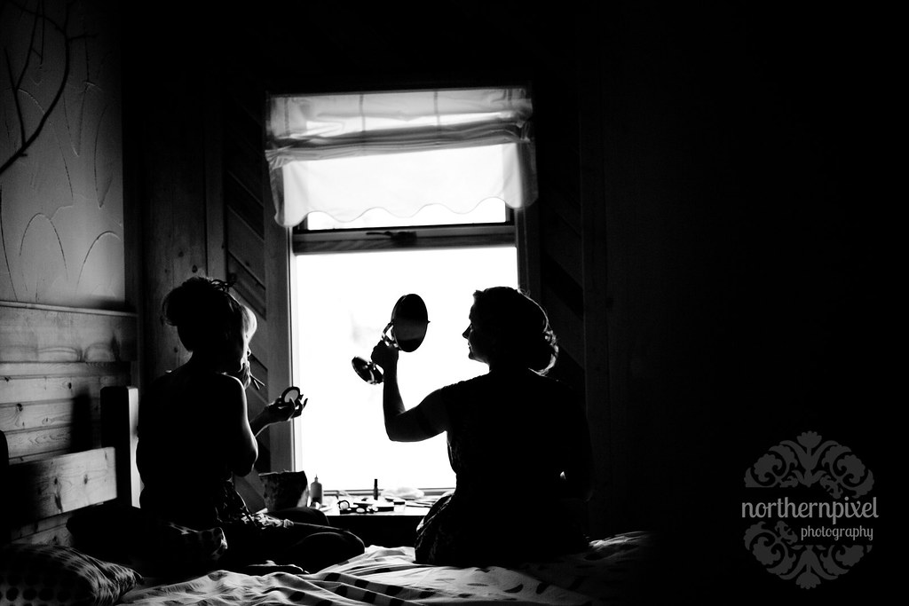 bride getting ready logpile lodge smithers bc makeup silhouette