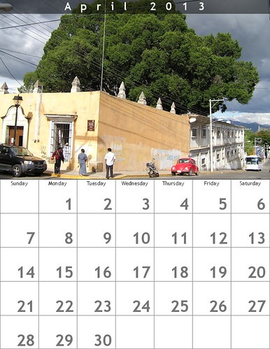 April 2013 Calendar (Oaxaca Trees)