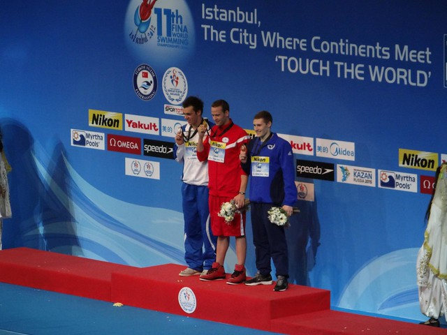 The Istanbul 2012 men's 1500 free podium
