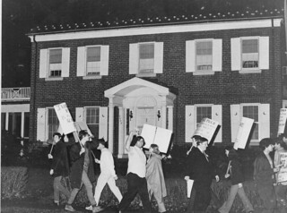 Picket Judge Pugh's Home Over Subversion Inquiry: 1969