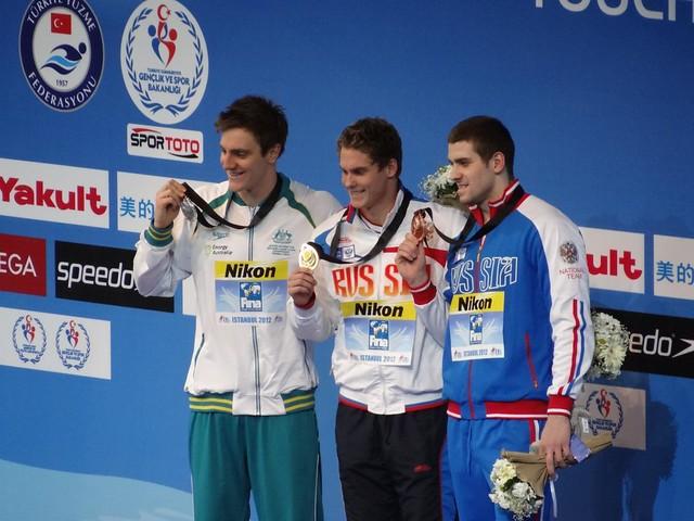 The Istanbul 2012 men's 100 free medal podium