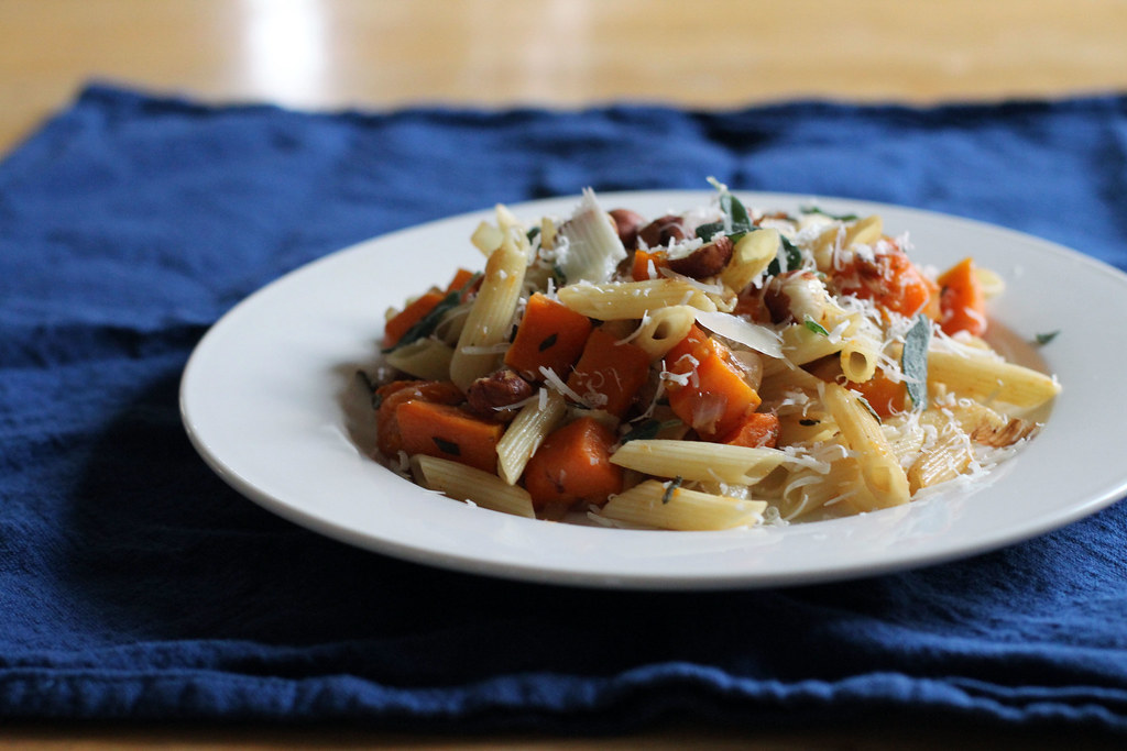 pasta with butternut squash, sage and parmesan