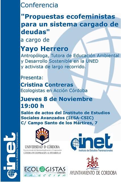 Conferencia coloquio de Yayo Herrero el jueves 8 de noviembre organizada por el INET.