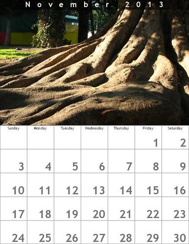 November 2013 Calendar (Oaxaca Trees)