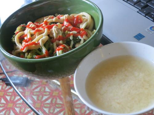 Broccoli and tofu yakiudon