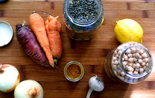Lentil soup ingredients