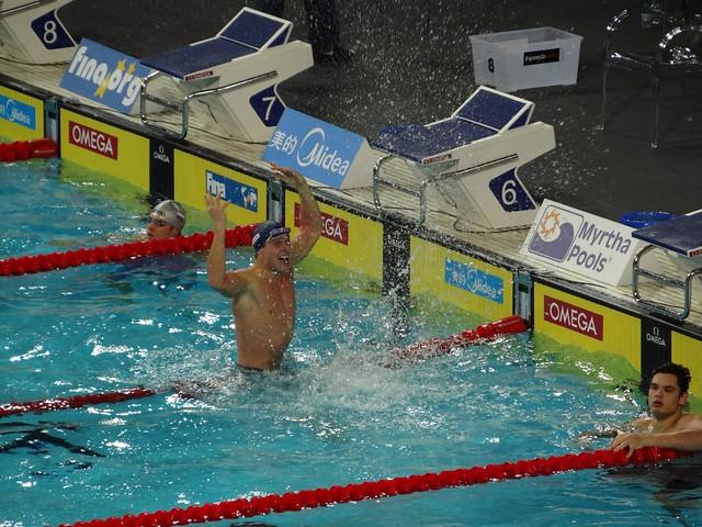 Aleksander Hetland after winning the Istanbul 2012 men's 50 breaststroke