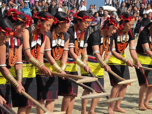 Khükiye-Lukhai villagers performing Thigha leh, Ahuna 2012, Zunheboto