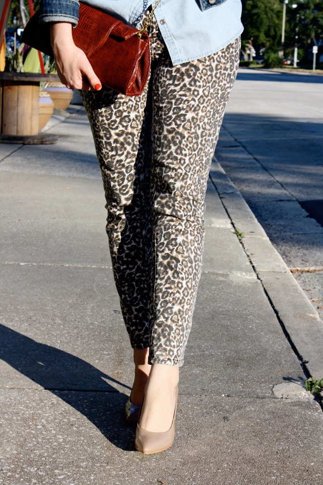 denim and leopard skinnies