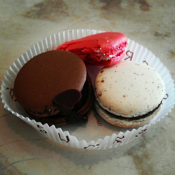 Chocolate, peppermint (yum) & cafe au lait macaroons to end my trip in New Orleans.