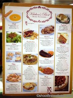 Kitchen's Best Home Patisserie menu