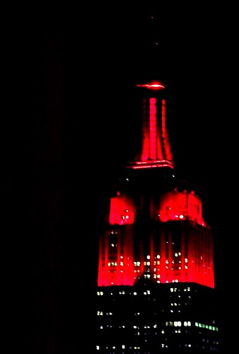 The Empire State Building in red