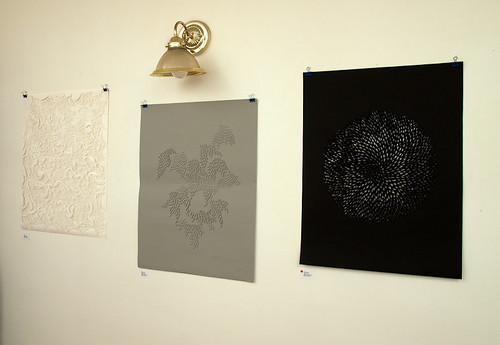 Eastside Culture Crawl set up - paper cut work