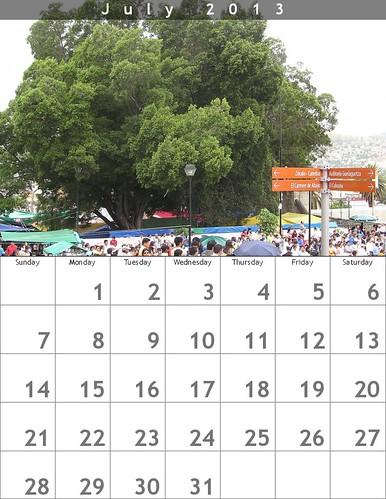 July 2013 Calendar (Oaxaca Trees)