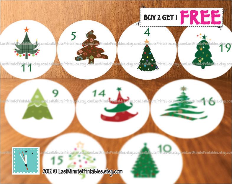 USD 1.99, Christmas calendar, Christmas advent, Christmas countdown, Christmas template, Christmas favor, Christmas print, Christmas tree