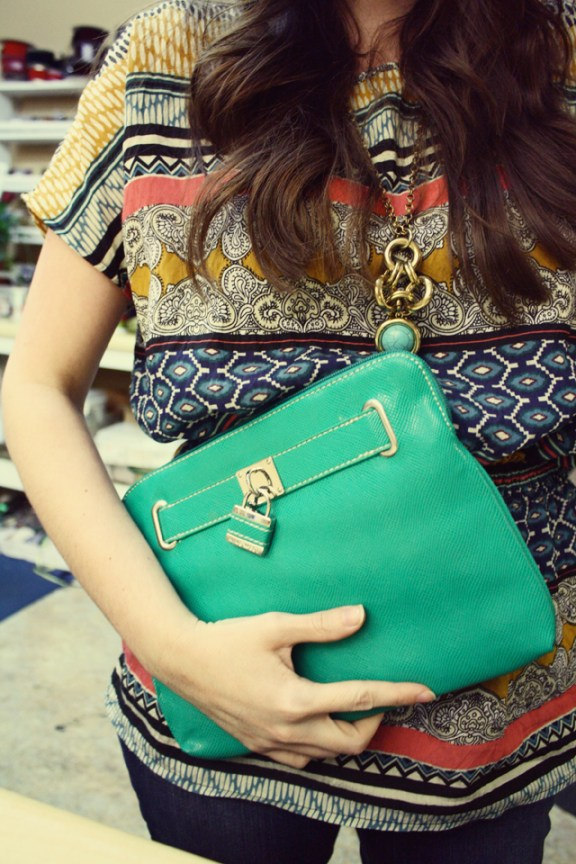 Print Blouse with Green Clutch