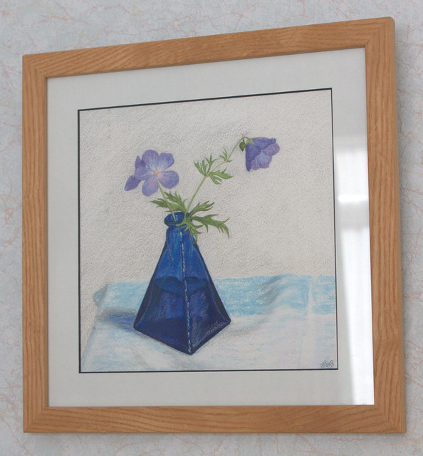 Janet E Davis, Hardy geranium in blue pyramid jar, coloured pencils on paper, 1990s.