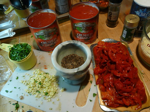 red pepper lasagna - red sauce ingredients