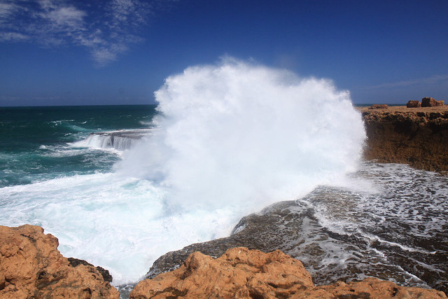 The Blowholes ,Quobba copping a big wave!
