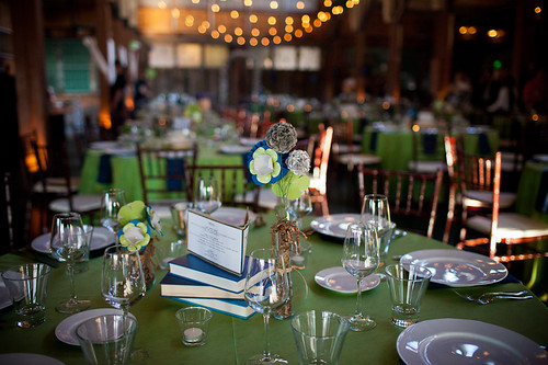 Book/flower centerpieces