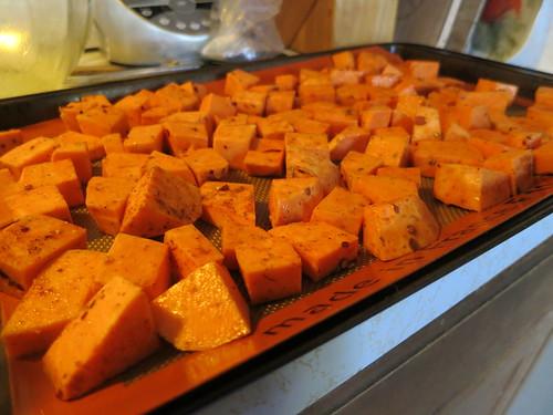 Sweet potato quinoa feta salad