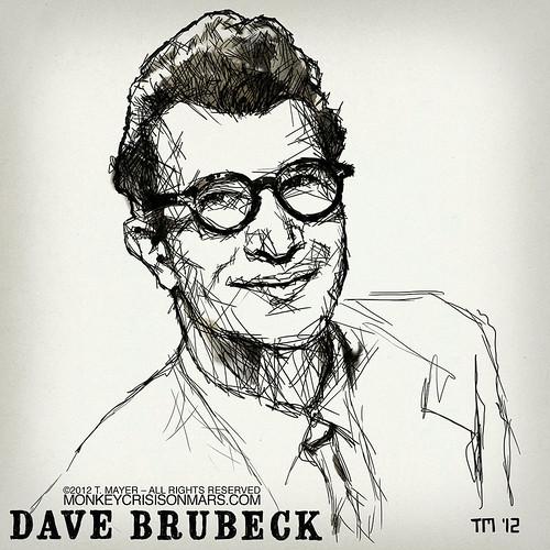 Artwork Illustration Portrait Sketch of Jazz Musician Dave Brubeck by Tom Mayer, San Diego
