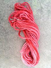 My lovely pink handspun yarn