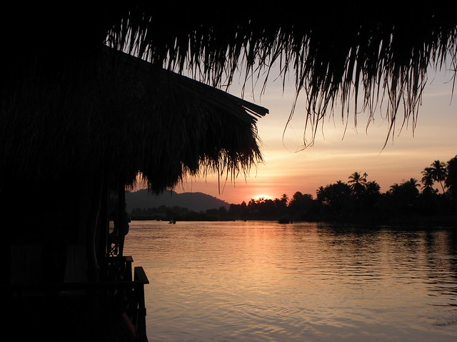 Sunset over the Mekong in southern Laos
