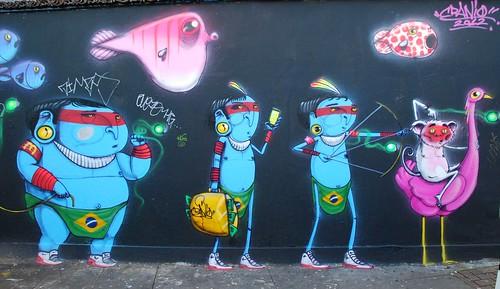 Graffiti (Cranio), off Brick Lane, East London, England.