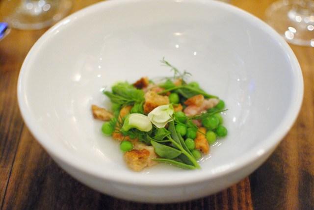 winter peas, bone marrow, green garlic broth, hedgehog mushroom, sour wheat crouton (animal)