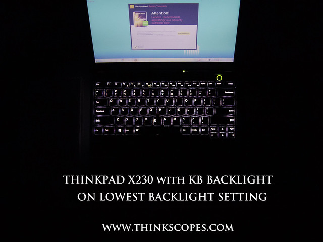 ThinkPad X230 with keyboard light on on the highest brightness level