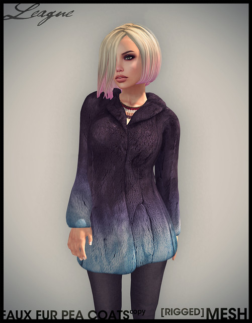 League Faux Fur Pea Coat