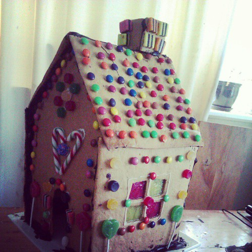 The gingerbread house has been declared finished.