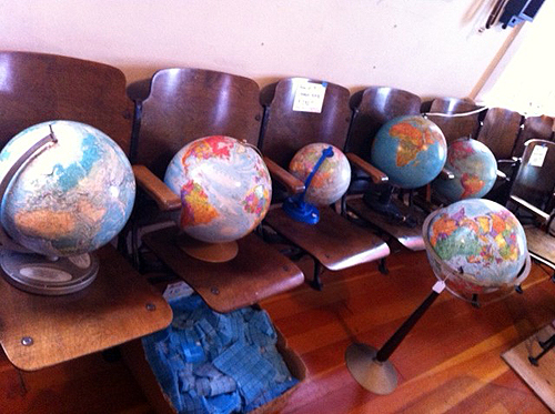 Globes in pews