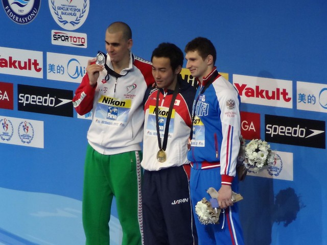 The Istanbul 2012 men's 200 fly medal podium