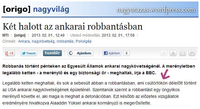 Pokolgép robbant Ankarában