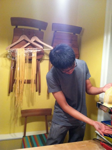 Pasta pressing and drying