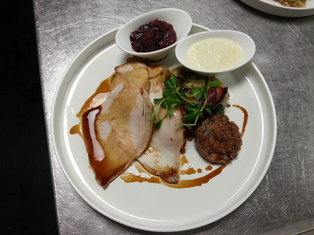 ROAST TURKEY, PIGS IN BLANKET, SAGE SAUSAGE STUFFING,BREAD SAUCE,CRANBERRY SAUCE AND TRIMMINGS