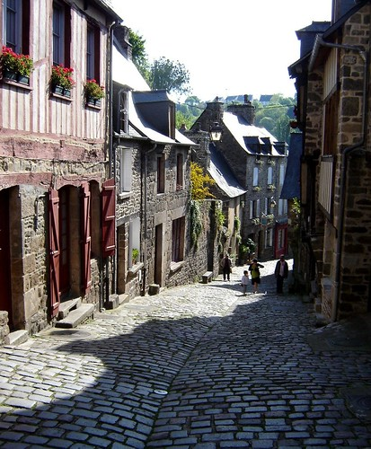 shadows in streets of Dinan Brittany France