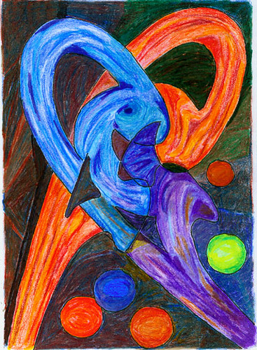 Orange and Blue. Abstract