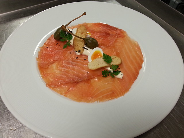 MILD SMOKED SALMON, ASPALL CYDER CREAM,SOFT BOILED QUAIL EGG,CAPER BERRIES