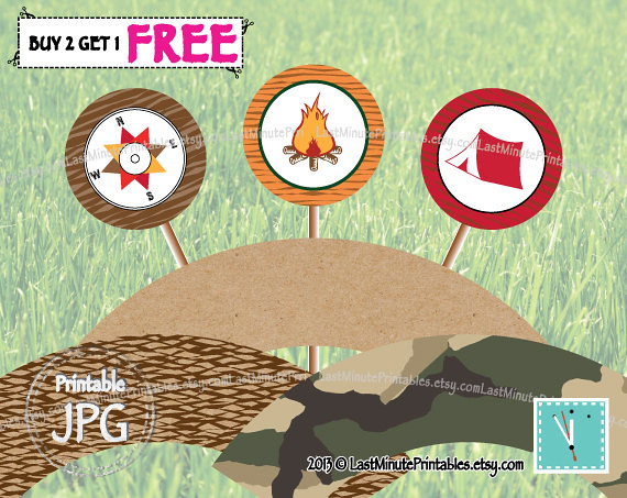 USD3.99, campout party, campfire, camp printable, happy camper, cupcake wrapper, cupcake topper, camp clipart, camp invitation, camper, cake topper