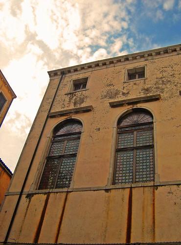 Windows in ghetto in Venice Italy