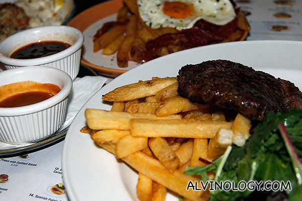 Grilled Argentinean Rib-Eye with Fries and Mixed Salad (200g)