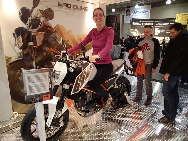 me on the KTM 690 Duke at the International Motorcycle Show in NYC, January 2013 ... apparently the 390 will be in the same frame, yippee for me!