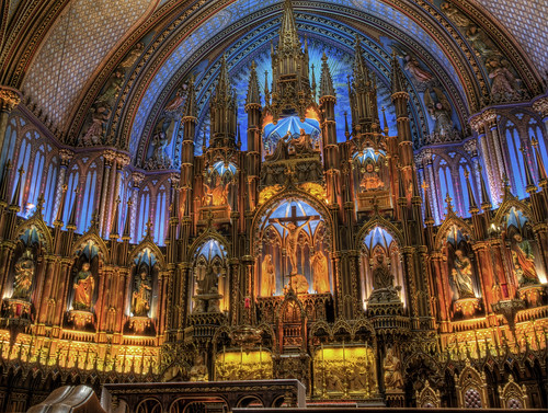 The Altar of Notre-Dame Basilica in Montreal