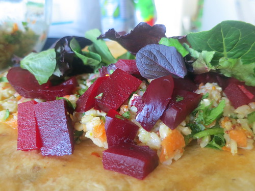 Brown rice and beet salad