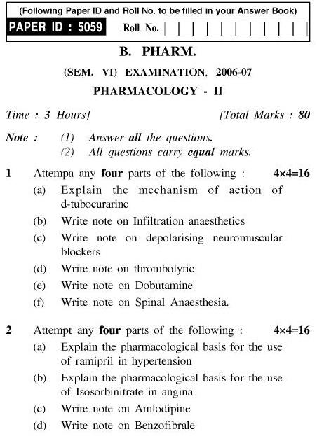 UPTU B.Pharm Question Papers PH-363 - Pharmacology-II