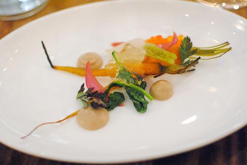 turnip, carrot, sake cured steelhead roe, walnut (animal)